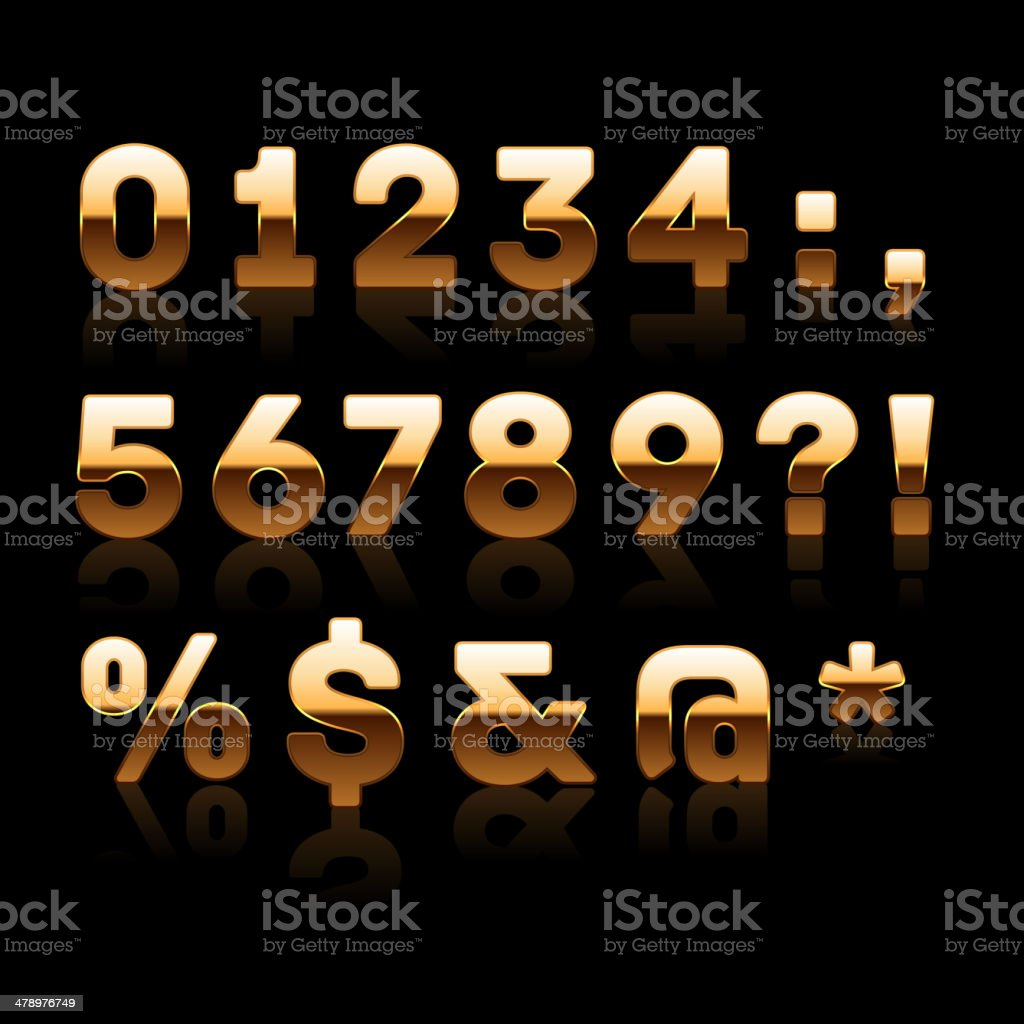 Golden Digits and Characters Set 2. royalty-free stock vector art
