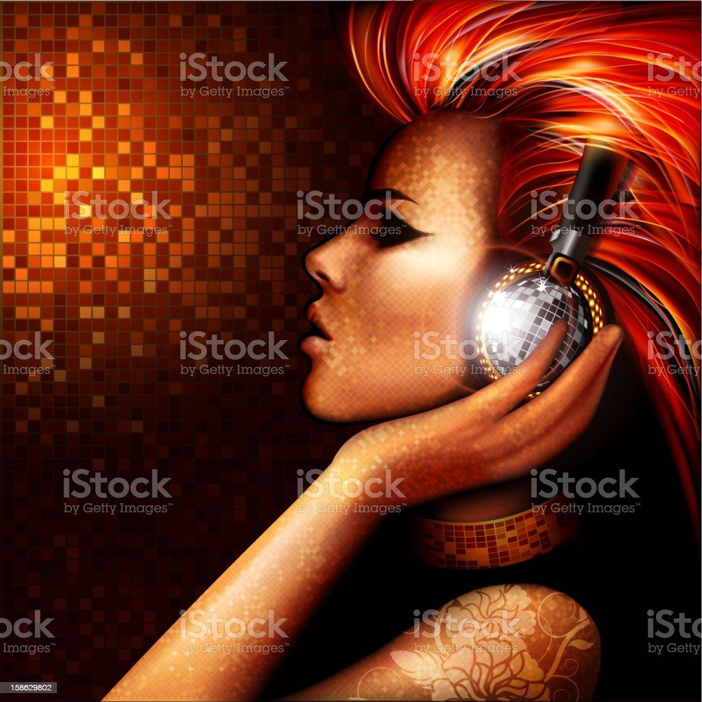 Golden disco vector art illustration