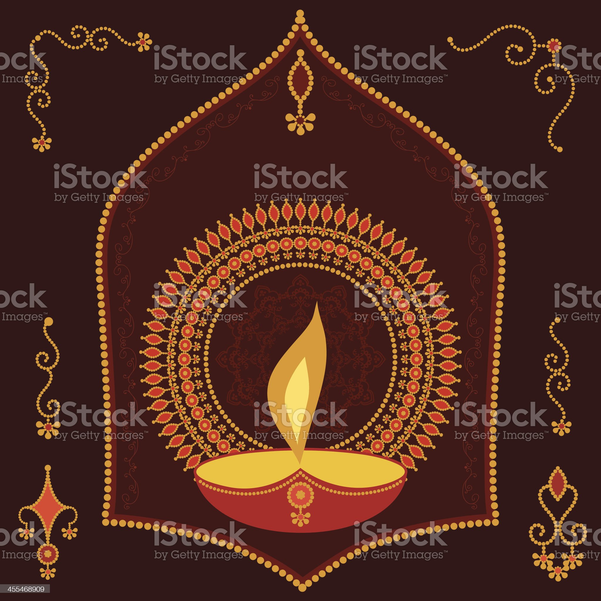 Golden Divali Candle royalty-free stock vector art
