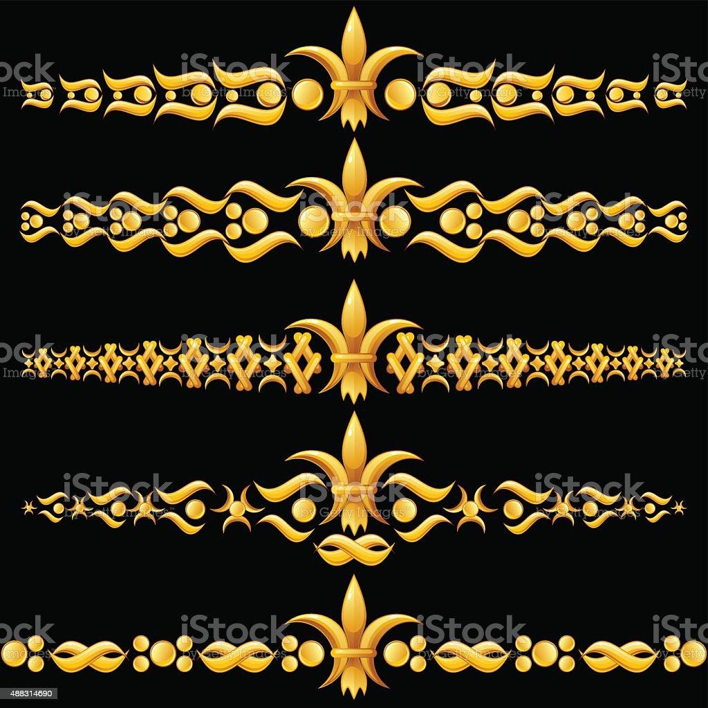 Golden dividers with fleur-de-lis vector art illustration