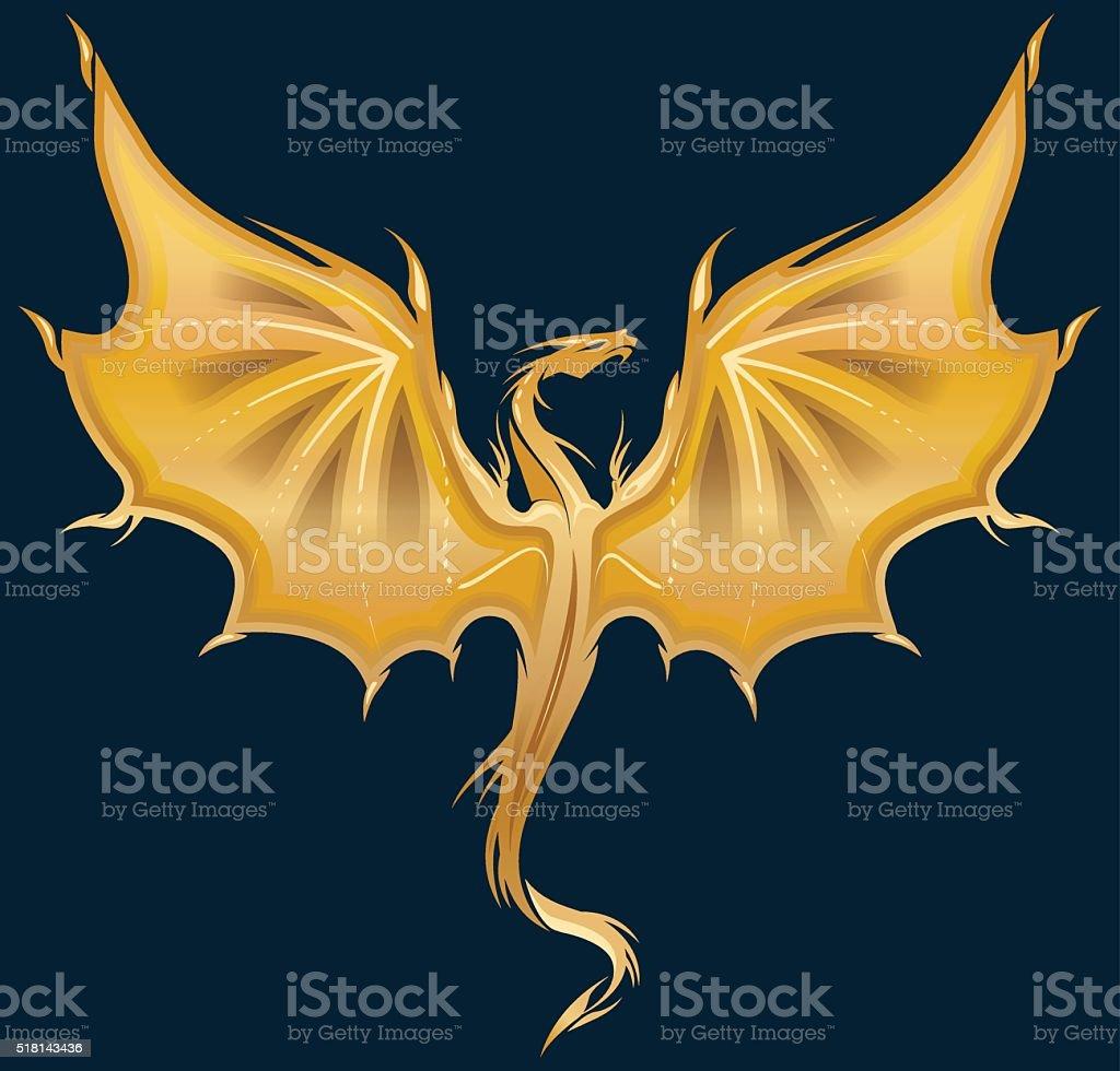 Golden Dragon vector art illustration