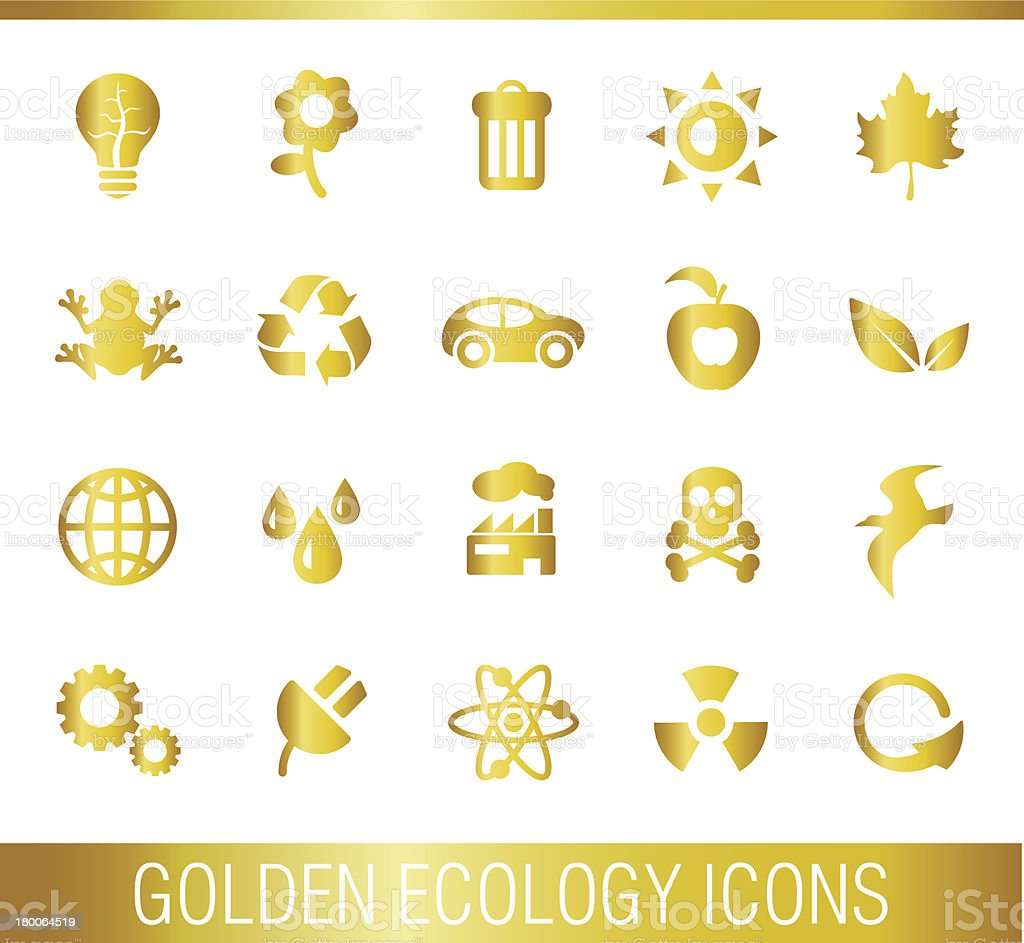 Golden ecology icons. royalty-free stock vector art