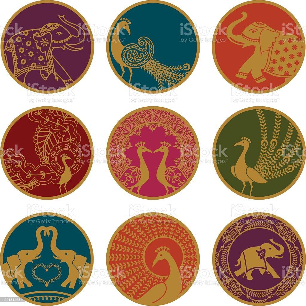 Golden Elephant and Peacock Ornaments vector art illustration