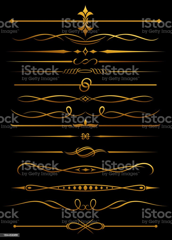 Golden embellishments and dividers royalty-free stock vector art