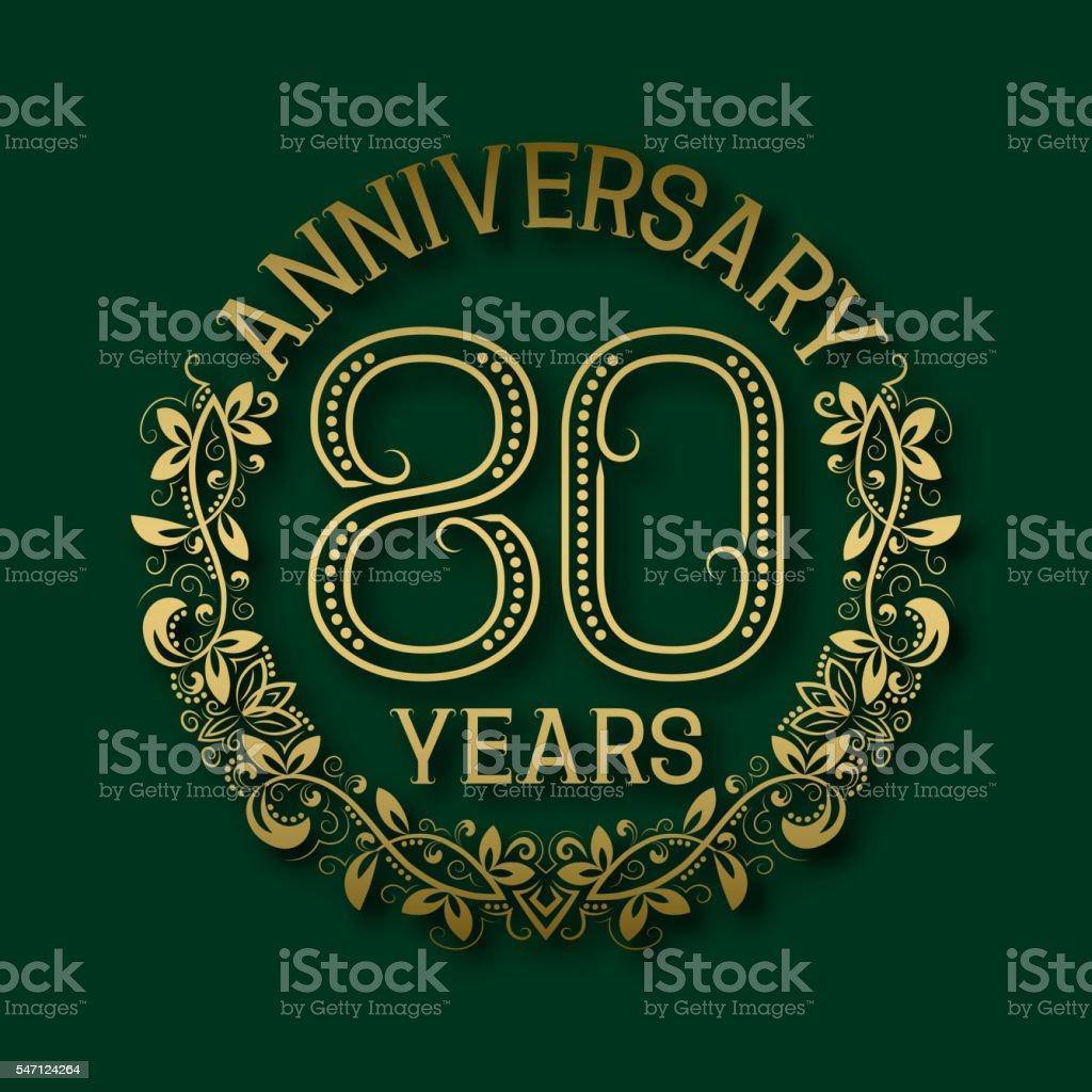 Golden emblem of eightieth years anniversary. vector art illustration