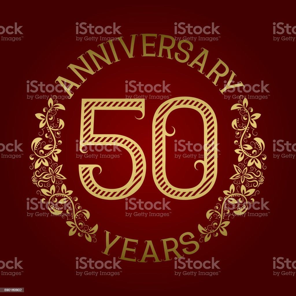 Golden emblem of fiftieth anniversary. vector art illustration