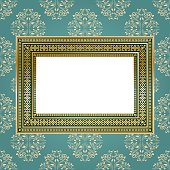 Golden empty frame on the wall for your art..