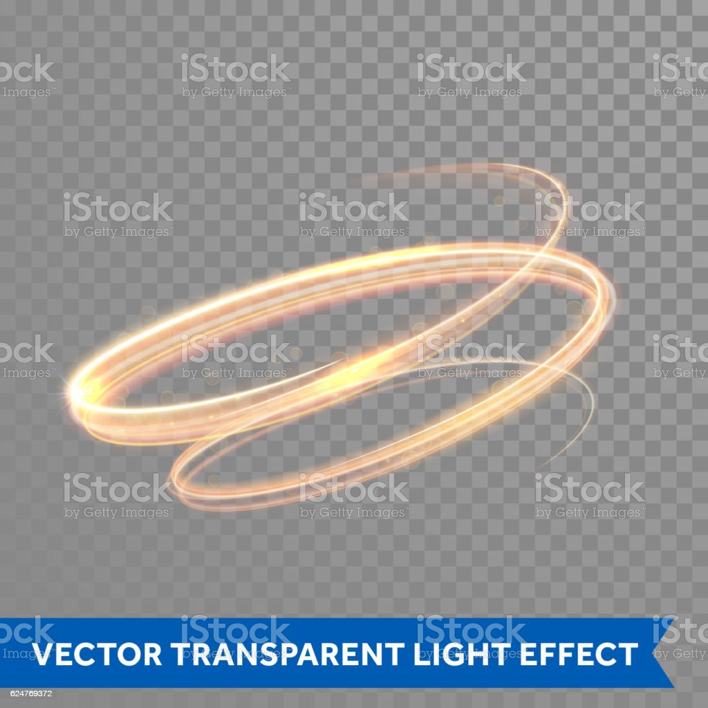Golden fire light painting effect vector art illustration
