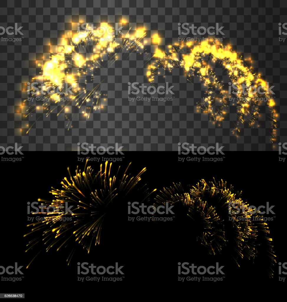 Golden firework exploed on black sky vector art illustration