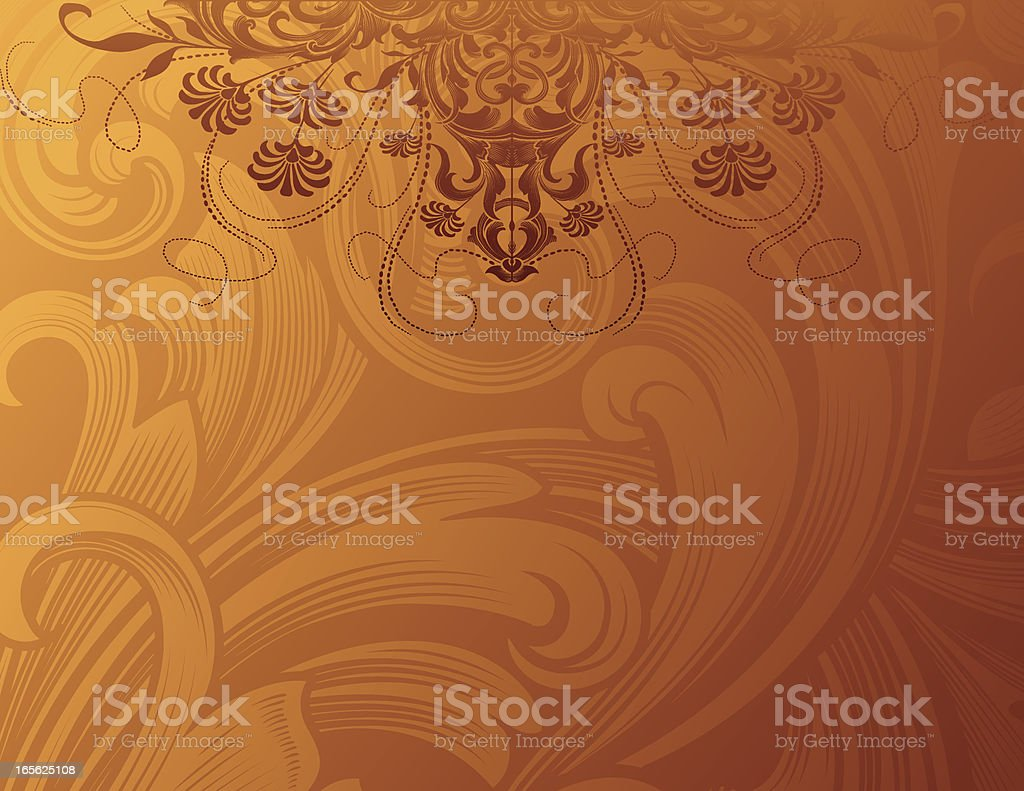 Golden Floral Background scrollwork and flowers royalty-free stock vector art
