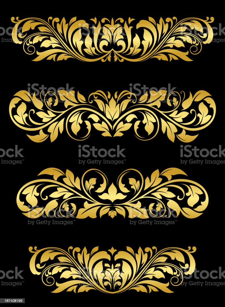 Golden floral embellishments royalty-free stock vector art