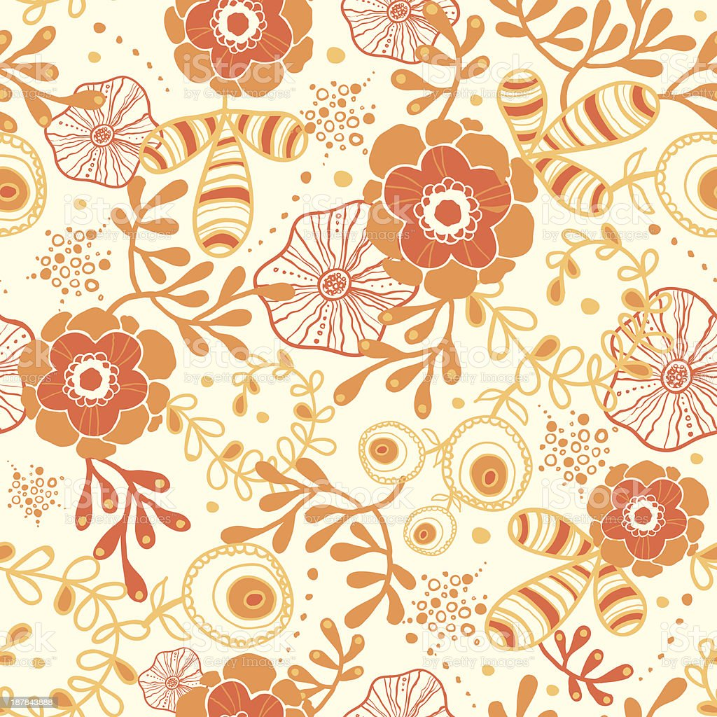 Golden florals seamless pattern background royalty-free stock vector art