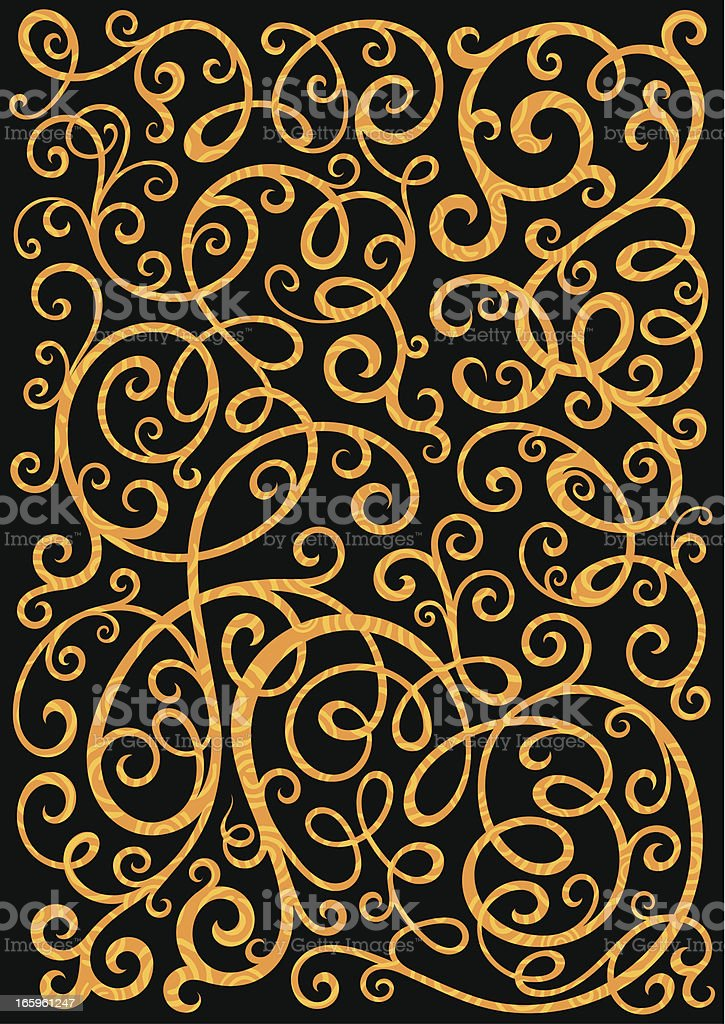 Golden florals royalty-free stock vector art