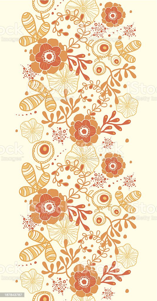 Golden florals vertical border seamless pattern background royalty-free stock vector art