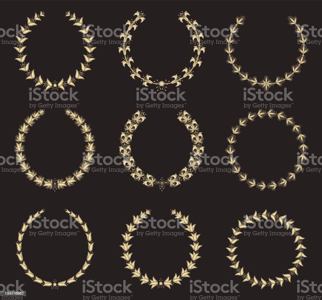 Golden Flower Laurel Wreaths royalty-free stock vector art
