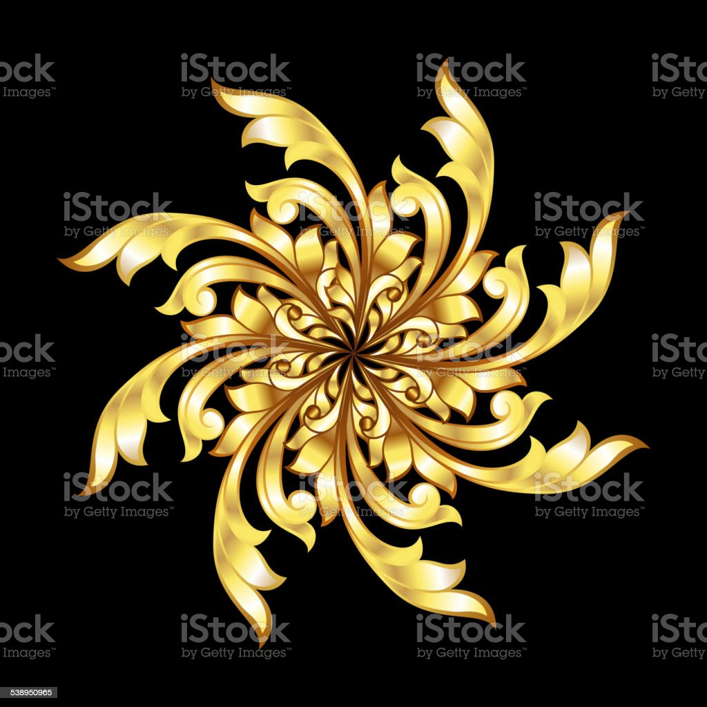 Golden flower pattern vector art illustration