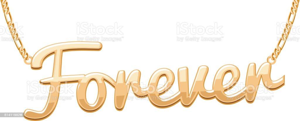 Golden FOREVER word pendant on chain necklace vector art illustration