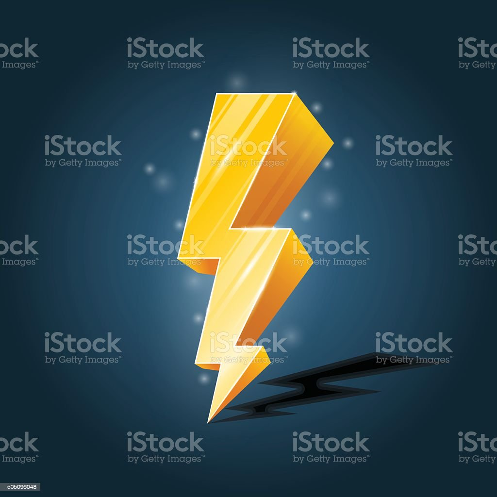 Golden, forked lightning icon with sparkles vector art illustration