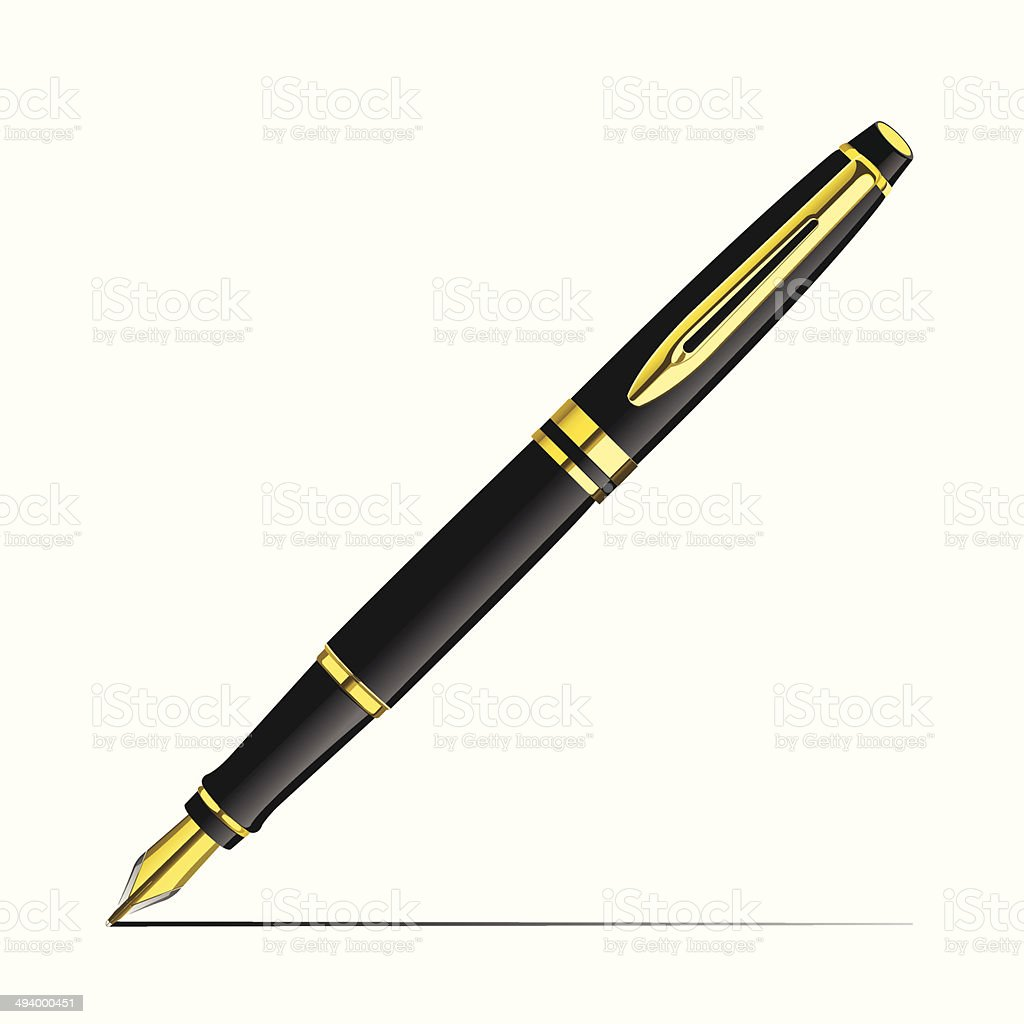 Golden Fountain Pen vector art illustration