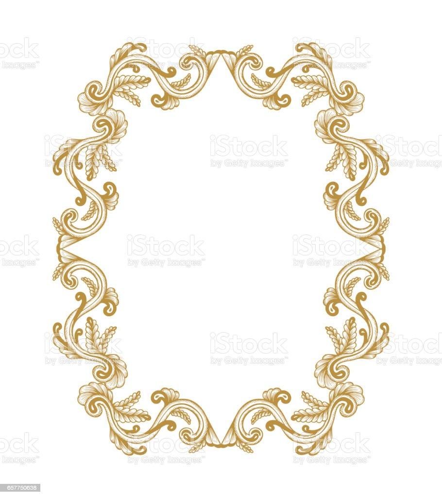 Golden Frame Hand Drawn Vintage Damask Ornamental Elements