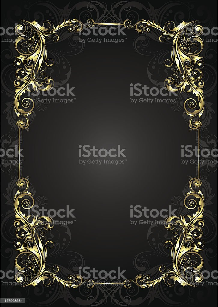 Golden frame on a black background royalty-free stock vector art