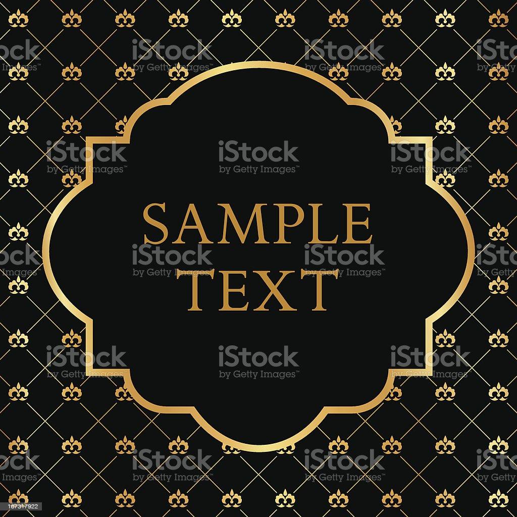 Golden Frame on Damask black Background royalty-free stock vector art