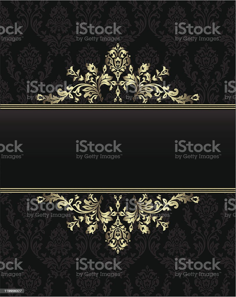 golden frame on seamless baroque background royalty-free stock vector art