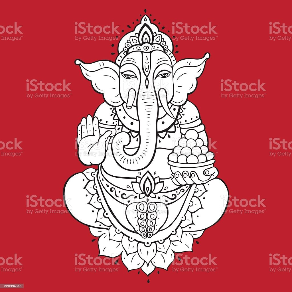 Golden Ganapati Meditation in lotus pose vector art illustration