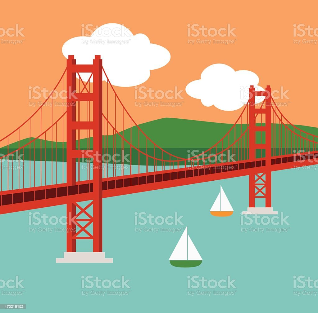 Golden Gate Bridge at Sunset vector art illustration