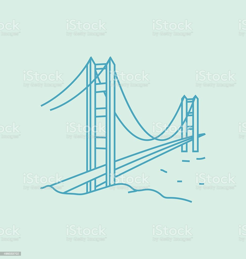 Golden Gate Bridge colored line Illustration vector art illustration