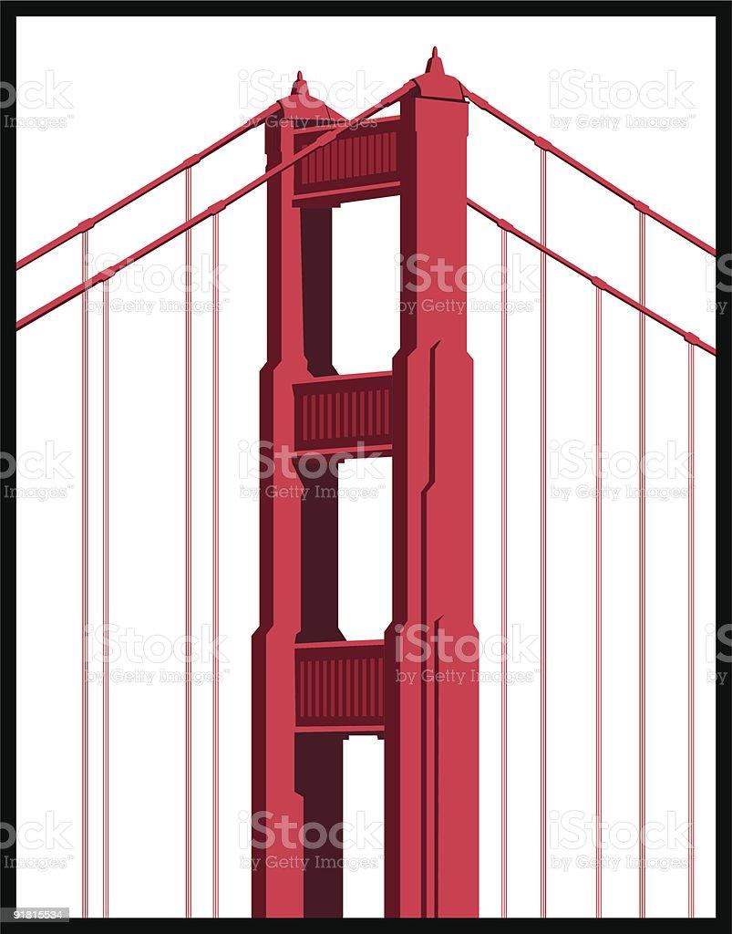 Golden Gate Bridge Detail vector art illustration
