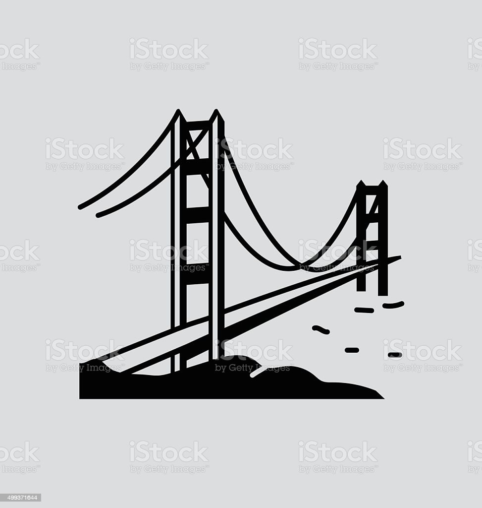Golden Gate Bridge Solid Vector Illustration vector art illustration