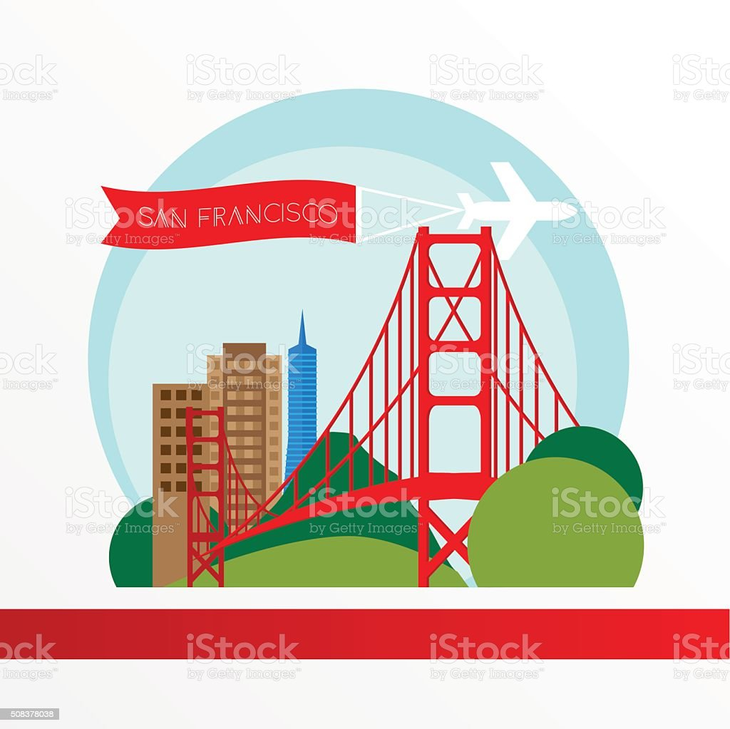 Golden Gate bridge - The symbol of US, San Francisco. vector art illustration