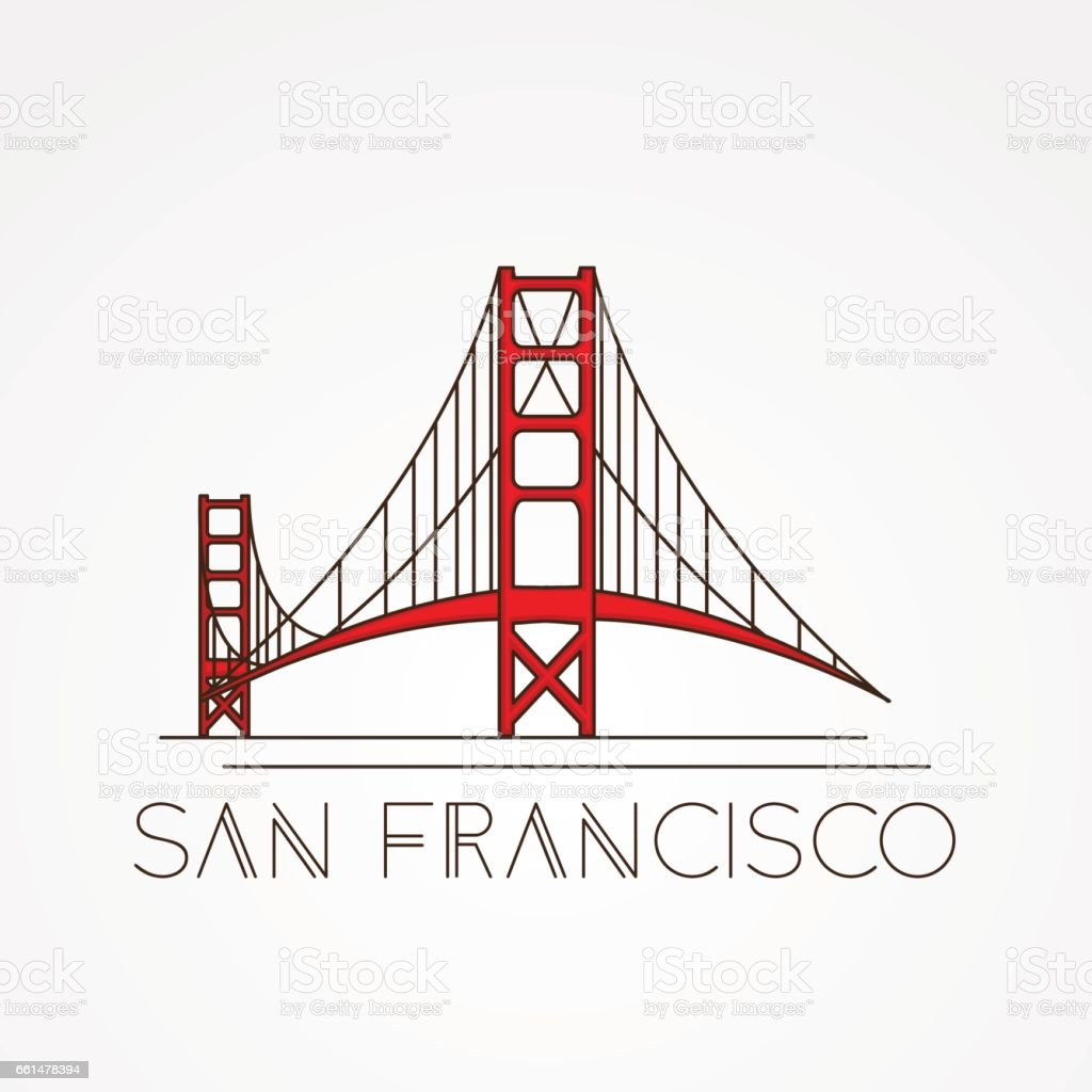 Golden Gate bridge - The symbol of US, San Francisco. vector art illustration