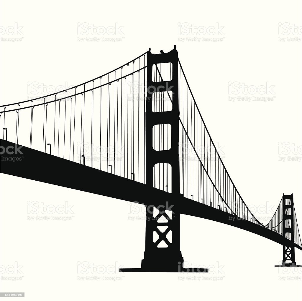 golden gate bridge vector art illustration