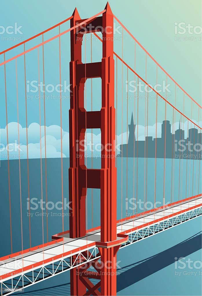 Golden Gate Bridge vector with city in background vector art illustration
