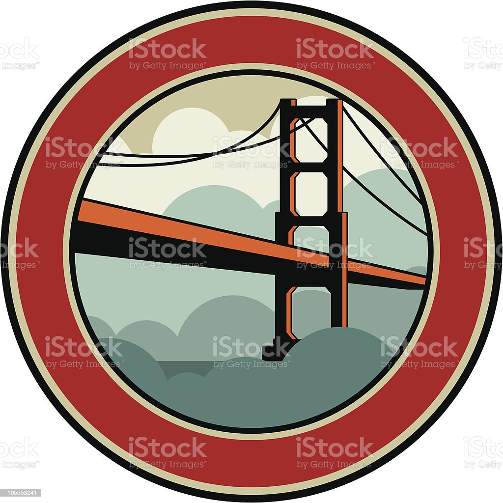 golden gate emblem vector art illustration