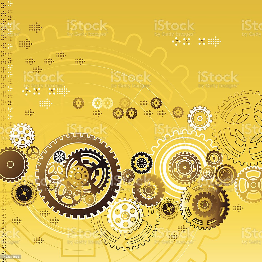 Golden Gear Background vector art illustration