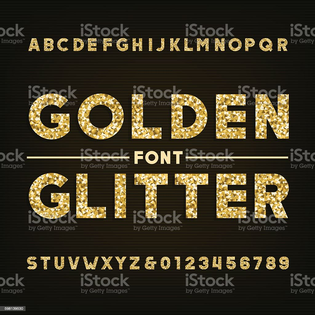 Golden glitter alphabet font. Bold letters and numbers. vector art illustration