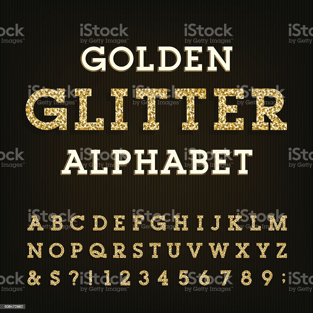 Golden glitter alphabet vector font. vector art illustration