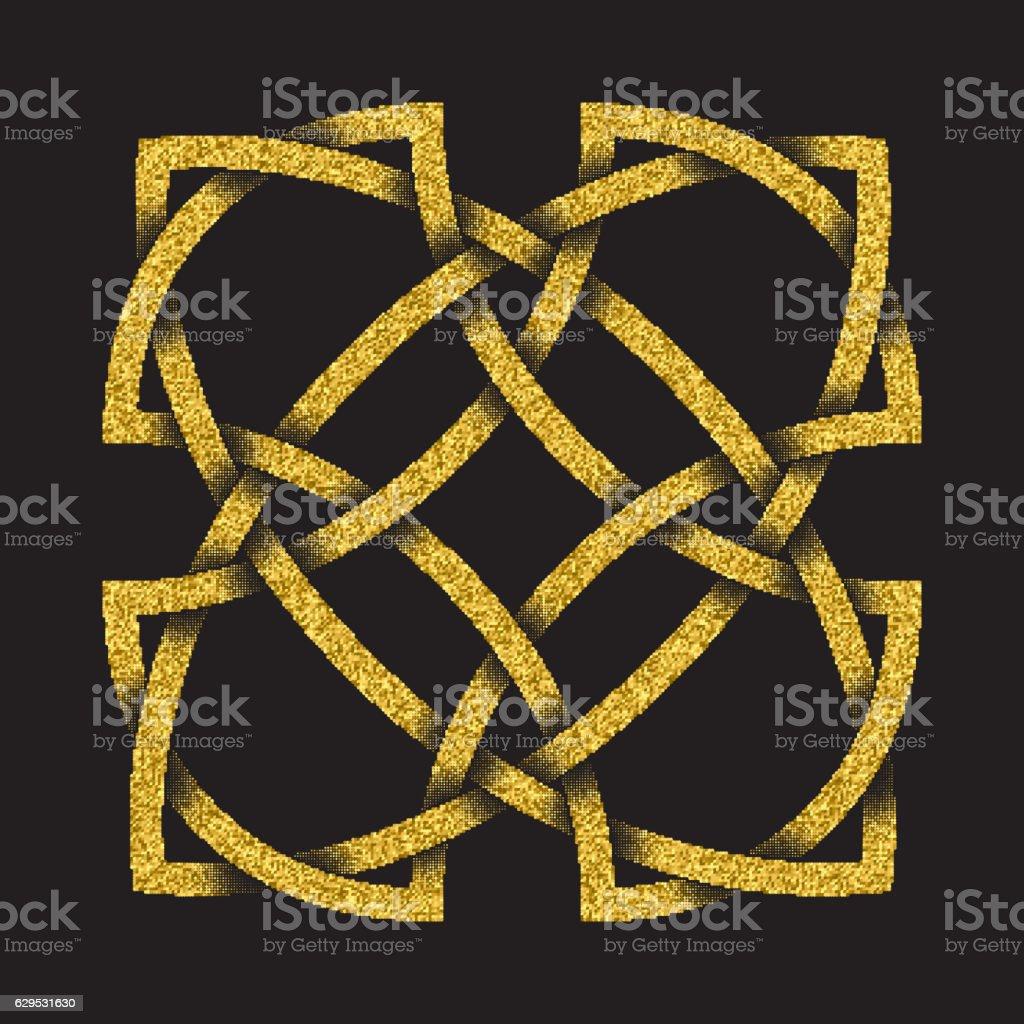 Golden glittering symbol in Celtic style on black background vector art illustration