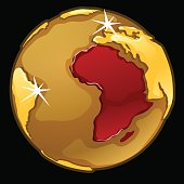 Golden globe with marked of Africa countries