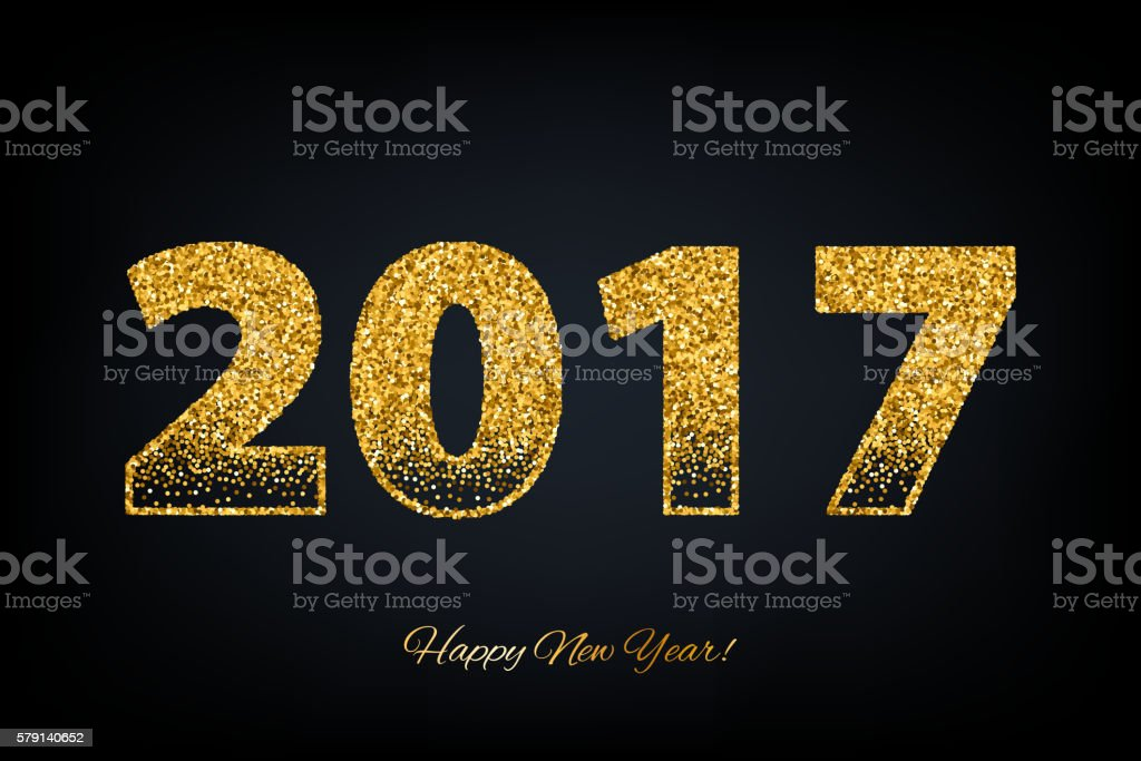 Golden glow 2017 new year vector illustration. vector art illustration