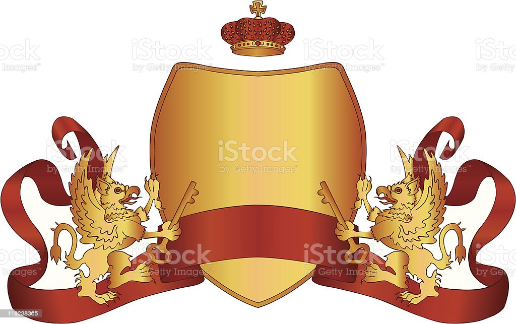 Golden Griffins with keys, crown, sheild and red ribbon heraldry royalty-free stock vector art