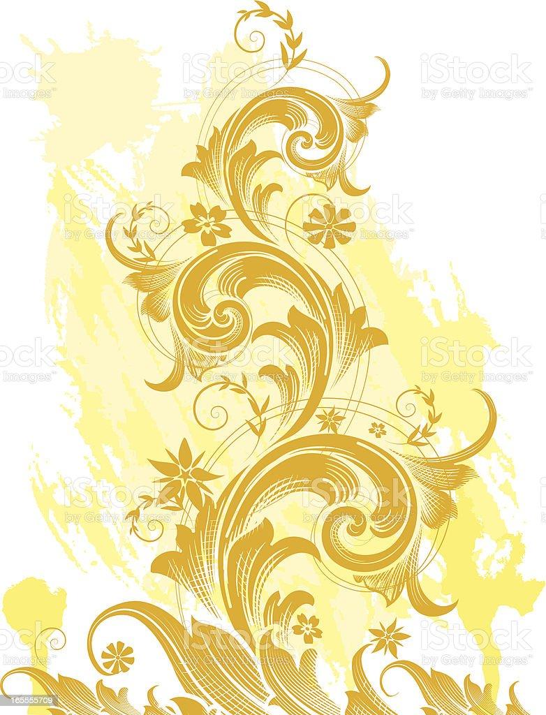 Golden Grunge Scroll royalty-free stock vector art