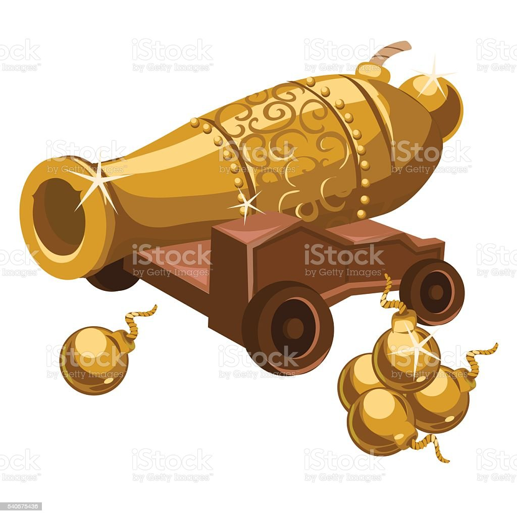 Golden gun with ornament on a wooden stand vector art illustration