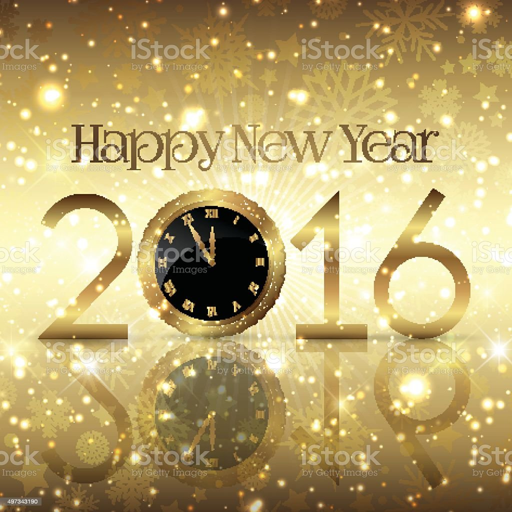 Golden Happy New Year background with a clock design vector art illustration