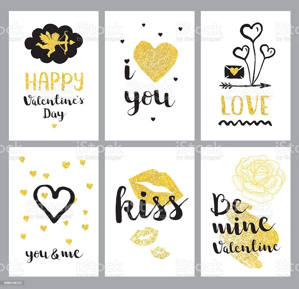Golden Happy Valentines Day set vector art illustration