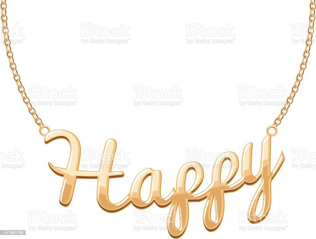 Golden HAPPY word pendant on chain necklace vector art illustration