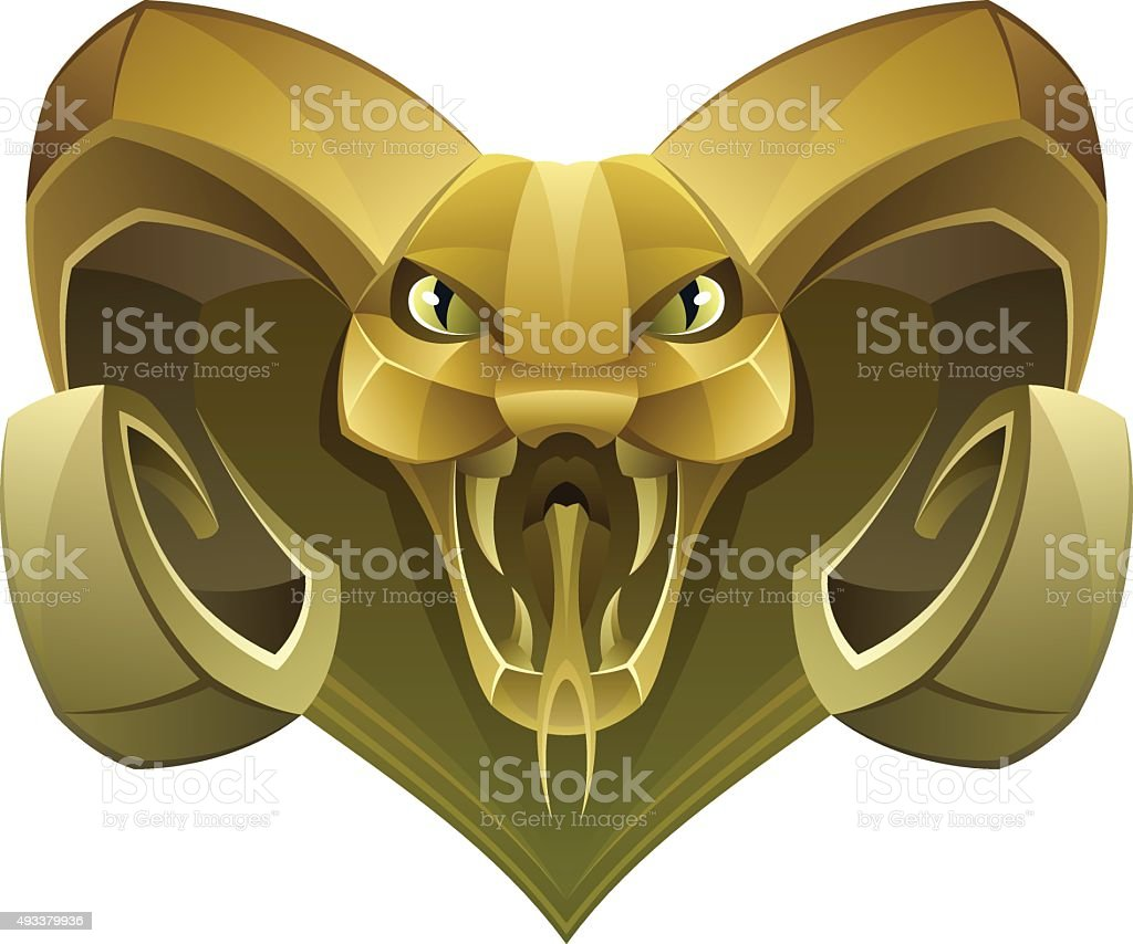 Golden head dragon vector art illustration